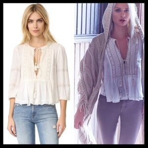 free people // wild life embroidered peasant top